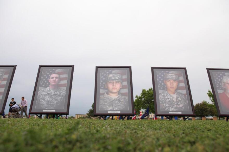 Memorial portraits for the victims of the 2009 shooting.