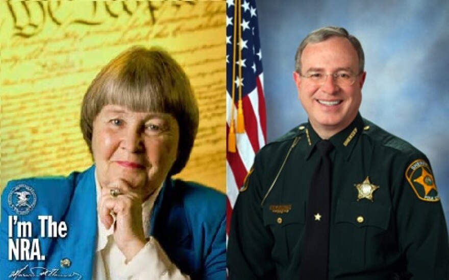 The former President of the National Rifle Association and current lobbyist Marion Hammer (left) and Florida Sheriff's Association President and Polk County Sheriff Grady Judd