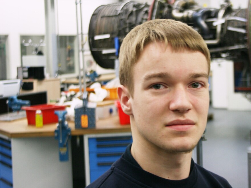 Robin Dittmar, 18, works at the Lufthansa Technik training center in Hamburg. He is about a third of the way through his apprenticeship as an aircraft mechanic and is confident his training will translate into a full-time job.