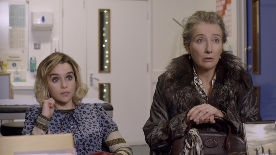 Emilia Clarke (left) and Emma Thompson star in <em>Last Christmas</em>, which Thompson co-wrote.