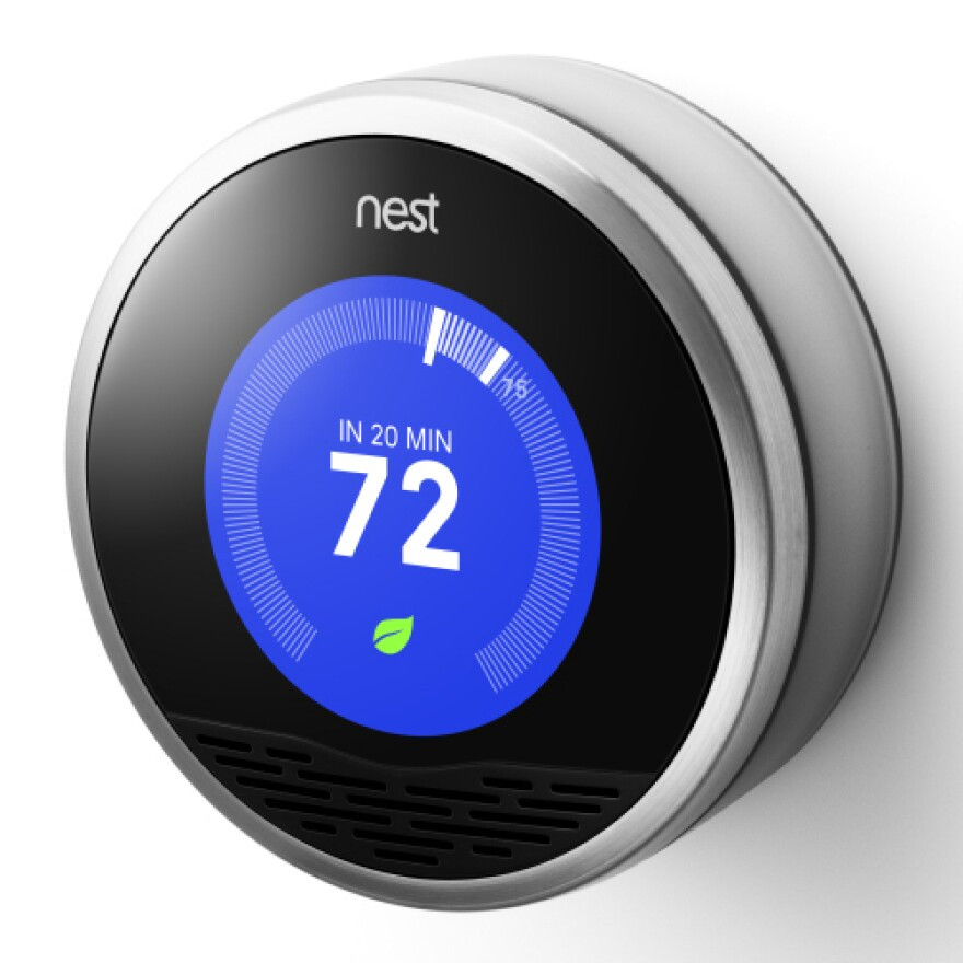 """<a href=""""http://www.nest.com/living-with-nest/"""">Nest's thermostat</a> observes patterns in your house, then programs itself."""