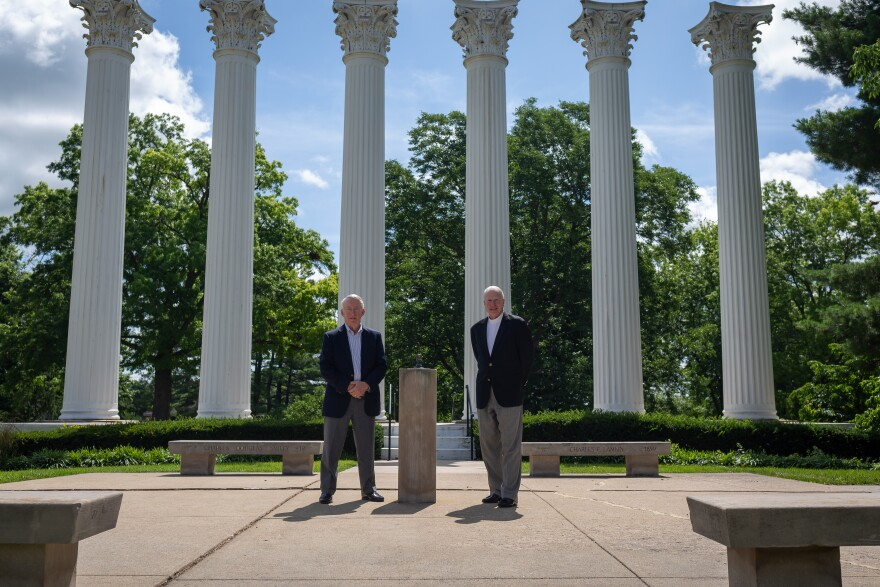 Westminster College Board of Trustees Chair Jim Morton and Interim President Don Lofe on the campus in Fulton, Missouri, July 2, 2020.