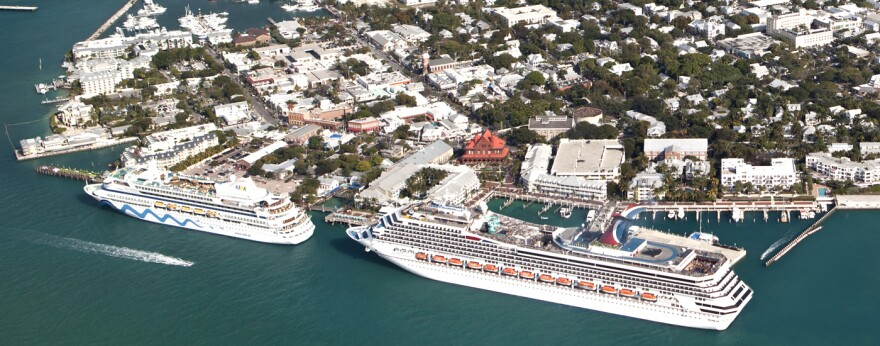 two cruise ships docked at key west