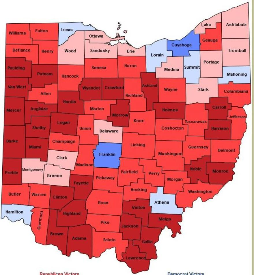 The map of Ohio's presidential vote in 2016, when Donald Trump beat Hillary Clinton by carrying 80 counties. He won by 8 points.