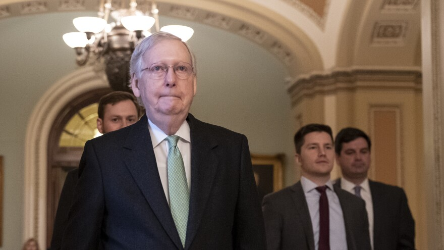 Senate Majority Leader Mitch McConnell, R-Ky., leaves the chamber after criticizing the House Democrats' effort to impeach President Trump.