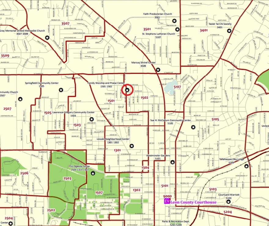 Leon County's voting precincts in the Levy Park neighborhood.  Family Worship and Praise Center is circled.