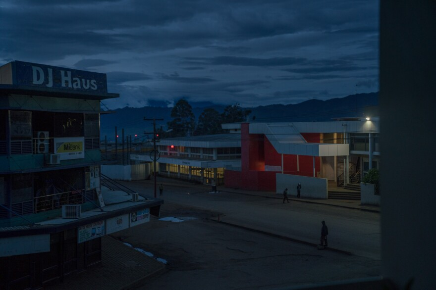 The streets in downtown Goroka are nearly empty after night falls.