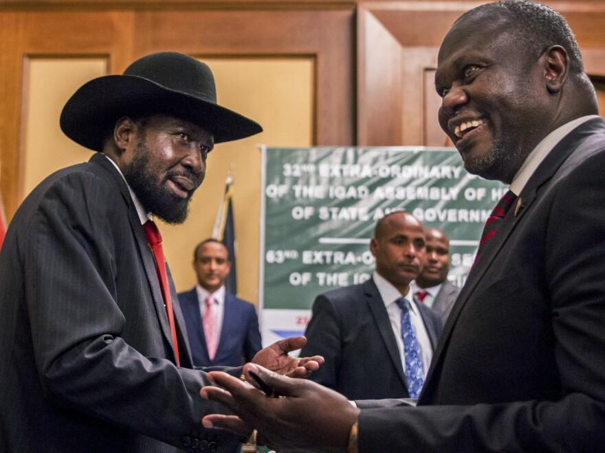 South Sudan's President Salva Kiir, left, and opposition leader Riek Machar, right, met for peace talks in Addis Ababa, Ethiopia.