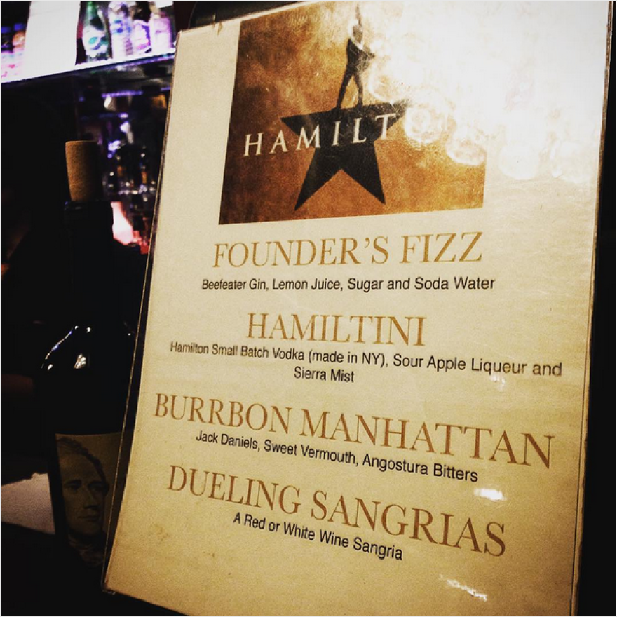 Hamiltinis — featuring Hamilton Small Batch Vodka from upstate New York — are served at the Richard Rodgers Theatre in New York City.