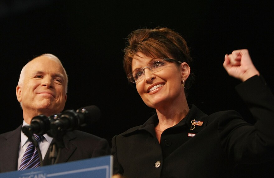 Republican presidential candidate John McCain stands with his running mate, Sarah Palin, on Aug. 29, 2008, in Dayton, Ohio. The excitement Palin generated at first didn't last long.