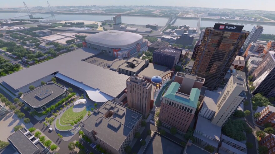 The proposal would upgrade the America's Center Convention Center in downtown St. Louis to include a new public park and large ballroom among other improvements to the complex, as depicted in this artist's rendering.