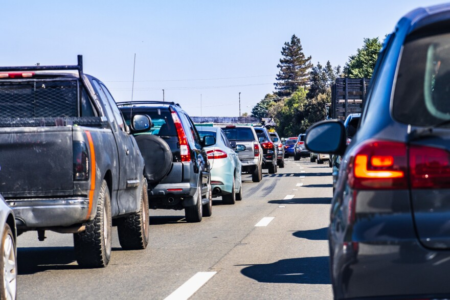Heavy traffic on one of the freeways crossing Silicon Valley, San Francisco bay area, California