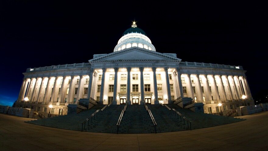 Photo of the Utah state capitol building at night