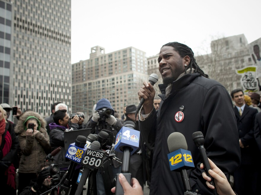 """New York City Council member Jumaane Williams speaks at a March demonstration in Lower Manhattan against the city's """"stop-and-frisk"""" searches."""