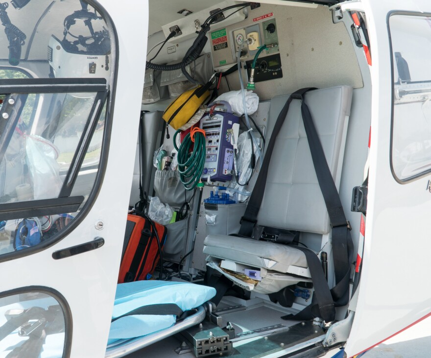The air ambulance can hold just four people: a pilot, a patient, a nurse and an EMT.