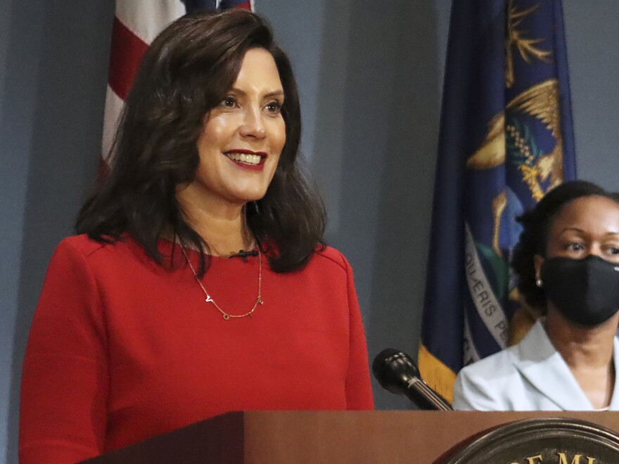 Michigan's Supreme Court ruled Friday that Democratic Gov. Gretchen Whitmer (pictured here on Sept. 16) does not have the authority to extend a state of emergency past April 30. Whitmer had cited two state laws that allowed her to maintain the state's coronavirus measures via executive order.