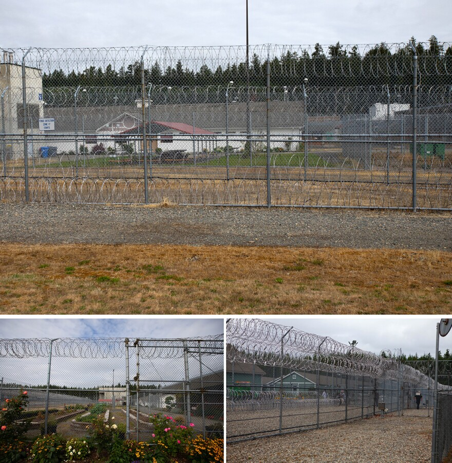 Razor wire-topped fences surrounding the maximum security building at the Washington Corrections Center for Women in Gig Harbor, Wash.