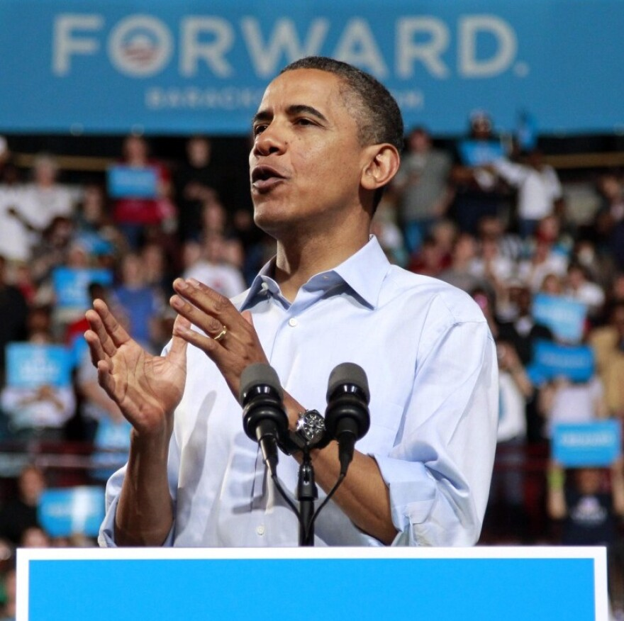 President Obama speaks during a campaign rally at Ohio State University, Saturday in Columbus, Ohio.