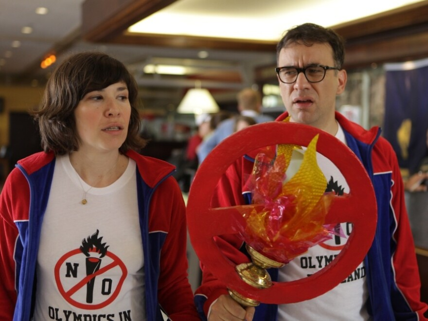 In one episode of <em>Portlandia</em>, Brownstein and Armisen started a grass-roots campaign to prevent the Olympics from ever coming to Portland.