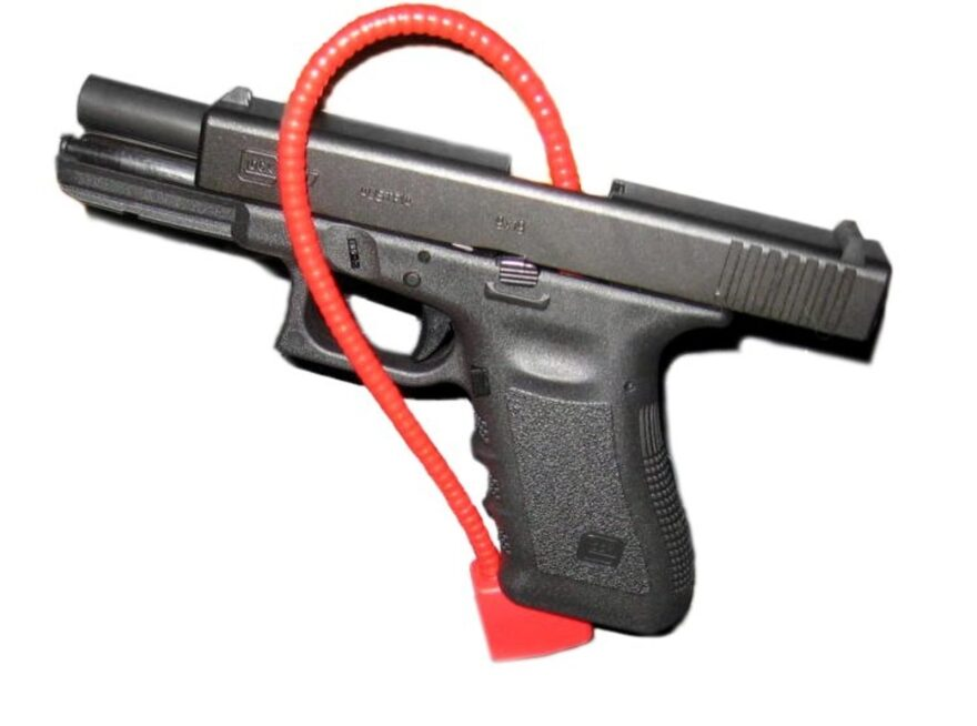 A third-generation 9mm Glock 17 with a cable lock.