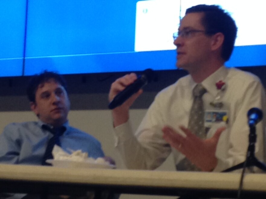 Dr. Matt Broom, (right) encourages students to go into primary care at a pediatrician panel at St. Louis University.
