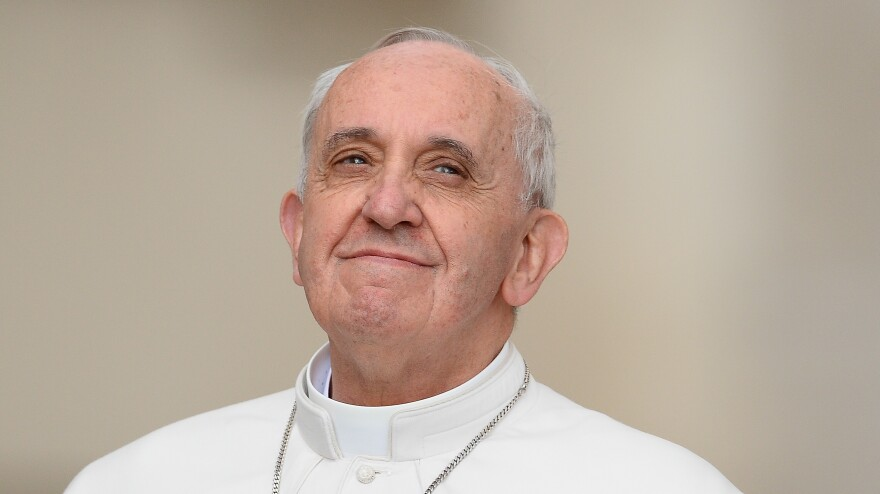 Pope Francis, shown here at his weekly general audience in St. Peter's Square at the Vatican on Wednesday, has emphasized inclusiveness in many of his speeches. In recent remarks, he reached out to atheists.