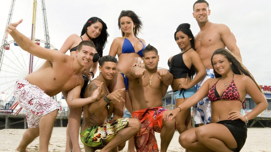 """MTV's <em>Jersey Shore</em> starred, from left, Vinny Guadagnino, Angelina Pivarnick, Paul """"DJ Pauly D"""" DelVecchio, Jenni """"JWOWW"""" Farley, Ronnie Magro, Nicole """"Snooki"""" Polizzi, Mike """"The Situation"""" Sorrentino and Sammi """"Sweetheart"""" Giancola."""