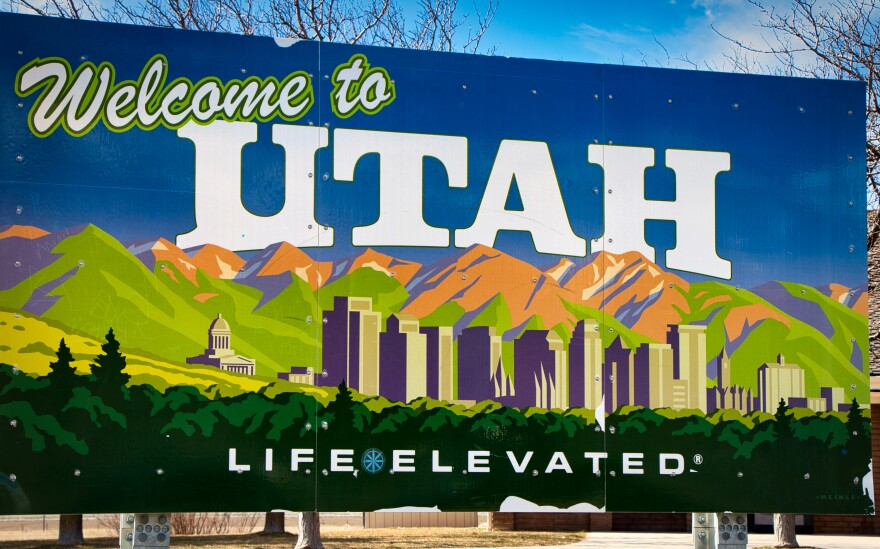 """Photo of a billboard that reads, """"Welcome to Utah."""""""