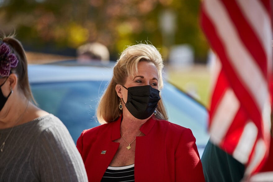 U.S. Rep. Ann Wagner waits outside her polling site to vote early Tuesday, Nov. 3, 2020 at Ballwin Golf Course. She defeated Democratic 2nd Congressional District candidate Jill Schupp.