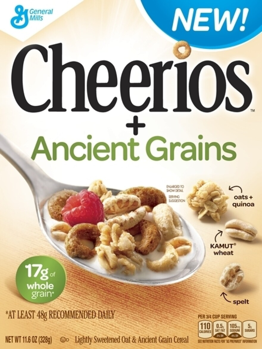 The new box of Cheerios + Ancient grains cereal.