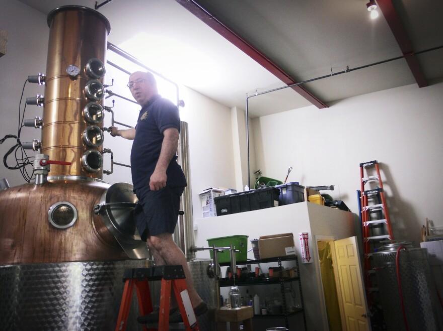 David Nahmias adjusts the still at the Nahmias et Fils distillery.