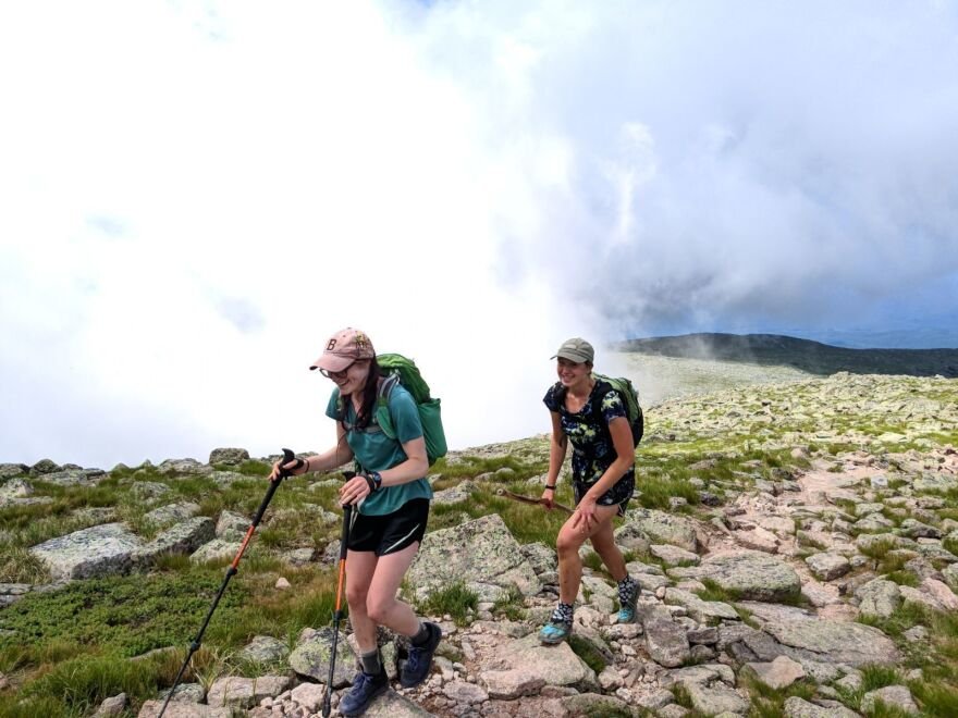 Mary Szatkowski (front) and Kristen Glennie of Maine on the final stretch of the Appalachian Trail in Maine's Baxter State Park. The two women began the 2,200-mile journey on Feb. 29 in Georgia.