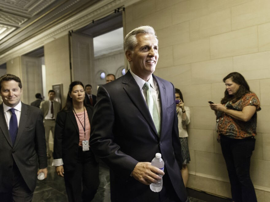 Kevin McCarthy of Calif. arrives with his GOP House allies for leadership elections on Thursday. McCarthy won his bid to replace outgoing Rep. Eric Cantor as the party's majority leader.