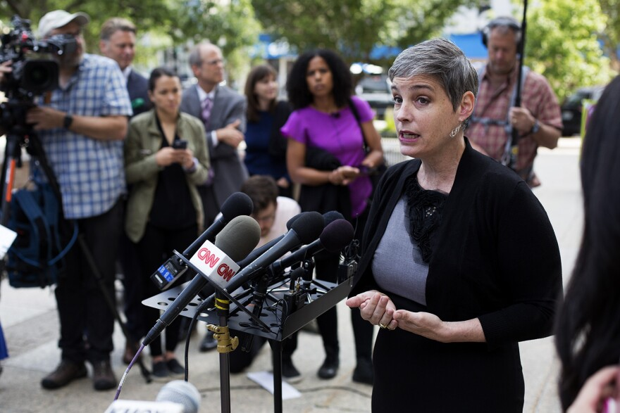 Director of Planned Parenthood Advocates in Missouri M'Evie Mead addresses reporters outside the St. Louis Circuit courthouse on Tuesday, June 4, 2019