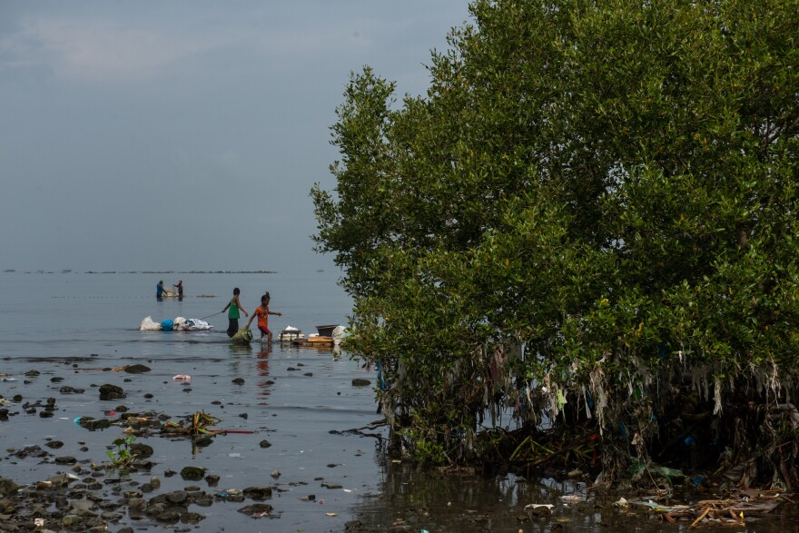 The islands that dot Manila Bay are like doormats for plastic trash that floats in from the ocean.