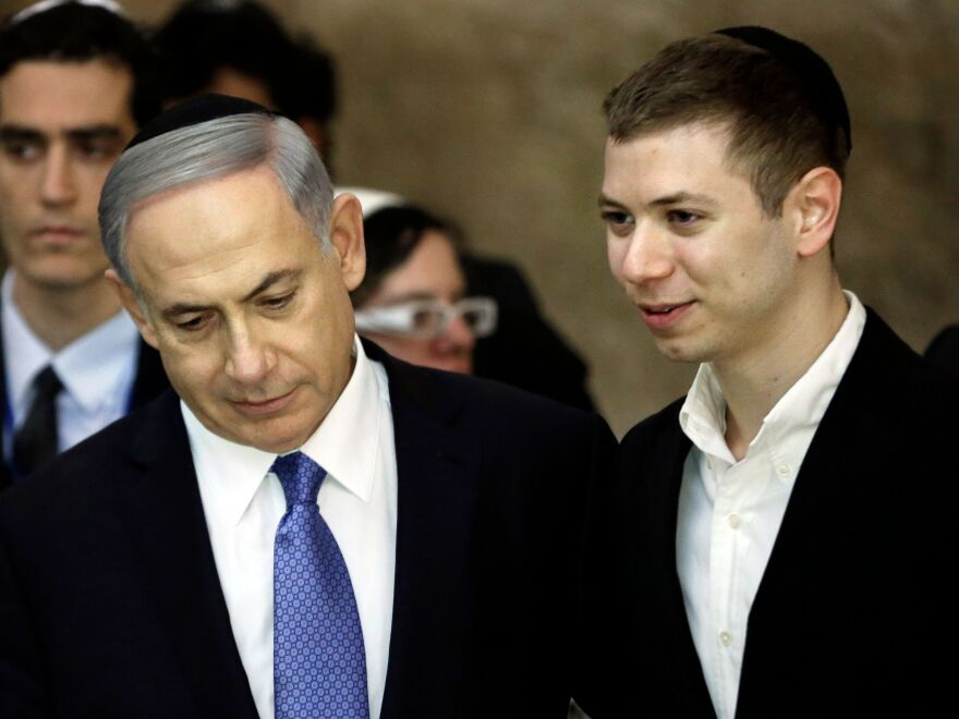 Israeli Prime Minister Benjamin Netanyahu and his son Yair visiting the Western Wall in Jerusalem in March 2015.