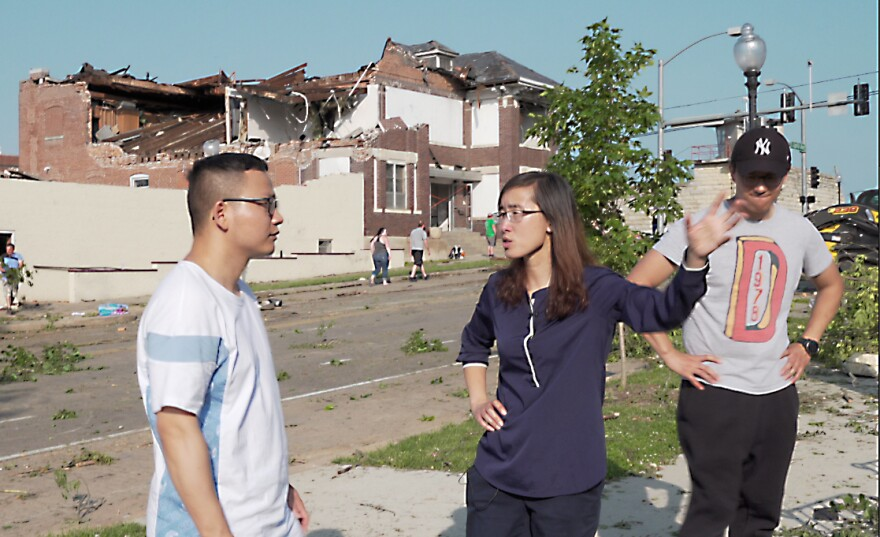 Missouri S&T engineering professor Grace Yan and her students survey post-tornado damages in Jefferson City in May 2019.