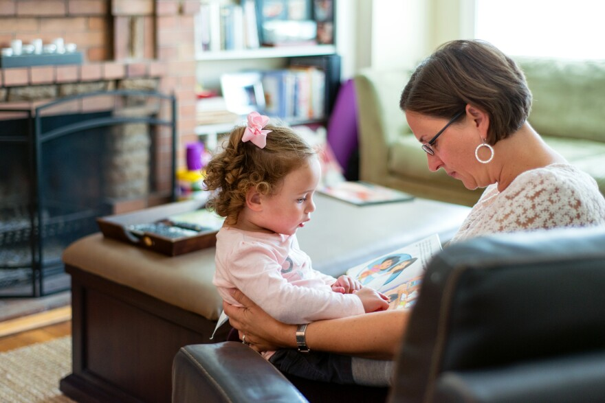 Anne Shamiyeh at home with 3-year-old Malia. Twins Kai and Malia arrived roughly two months early. Each weighed around 3 pounds at birth, but Malia was able to go home after about five weeks in the NICU.