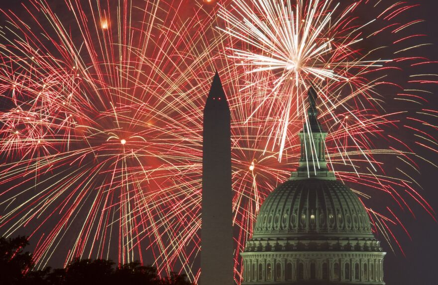 Fireworks explode over the National Mall on July 4, 2017.