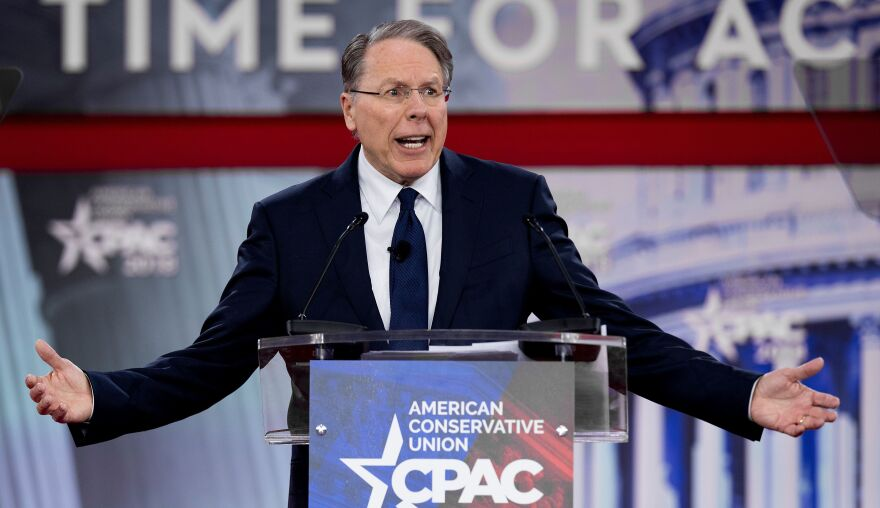The National Rifle Association's executive vice president and CEO, Wayne LaPierre, speaks during the 2018 Conservative Political Action Conference at National Harbor in Oxen Hill, Md., on Thursday.