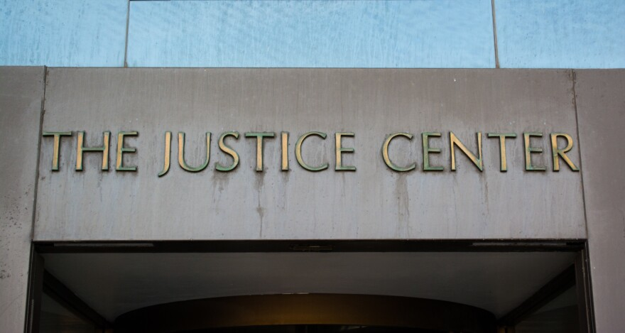 photo of the entrance to the Justice Center in Clevelend
