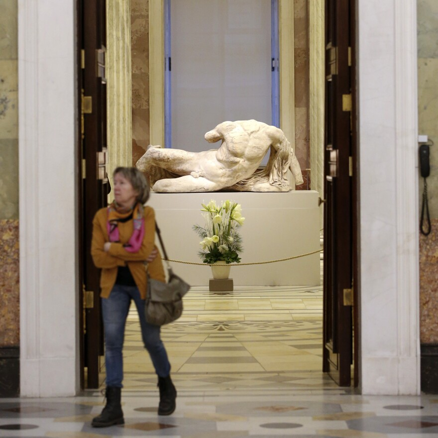 The headless, reclining sculpture of the river god Ilissos is on display at the State Hermitage Museum as part of its 250th anniversary celebration in St. Petersburg in December. The sculpture, taken from the Parthenon in Athens 200 years ago, was on loan to Russia from the British Museum.