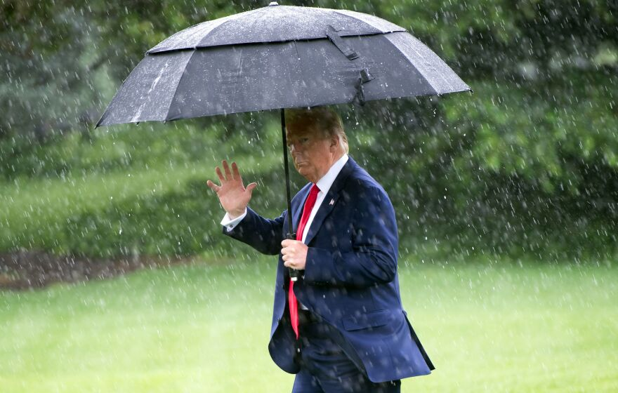 While on the campaign trail, President Trump, seen here on the South Lawn of the White House in June, frequently bemoaned what he viewed as insufficient water pressure of devices like showerheads.