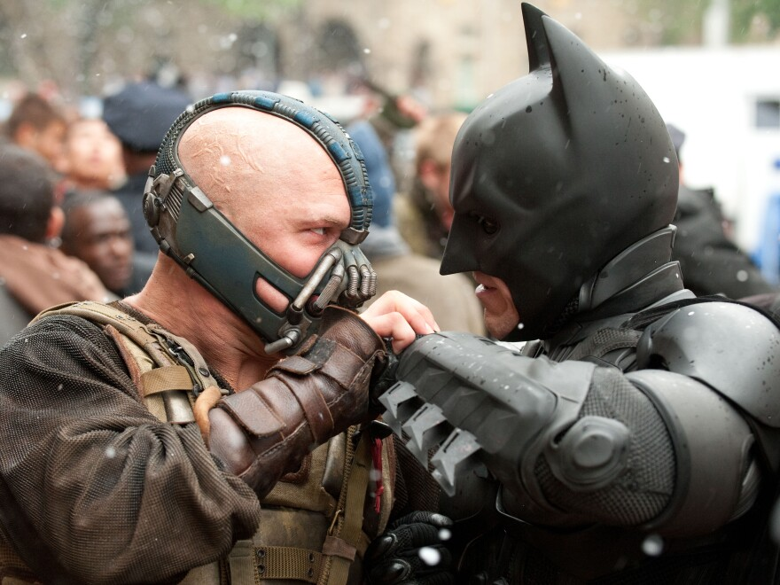 Batman's enemy in <em>The Dark Knight Rises </em>is the brutish Bane (Tom Hardy), who delivers a beating that sends Bruce Wayne back to the gym.