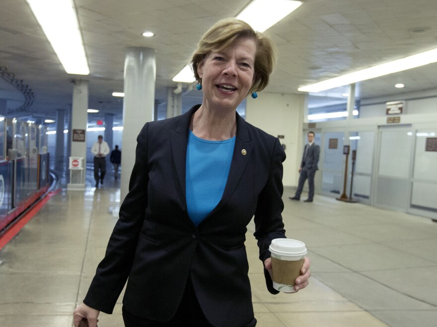 Wisconsin Sen. Tammy Baldwin walks in Capitol Hill in January.