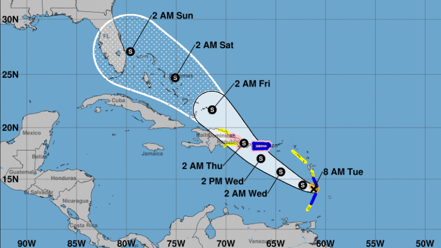 Tropical Storm Dorian is forecast to hit Puerto Rico on Wednesday before arriving at Florida's coast this weekend. The storm is bringing heavy rainfall, but it lacks the strong winds of recent fearsome hurricanes.