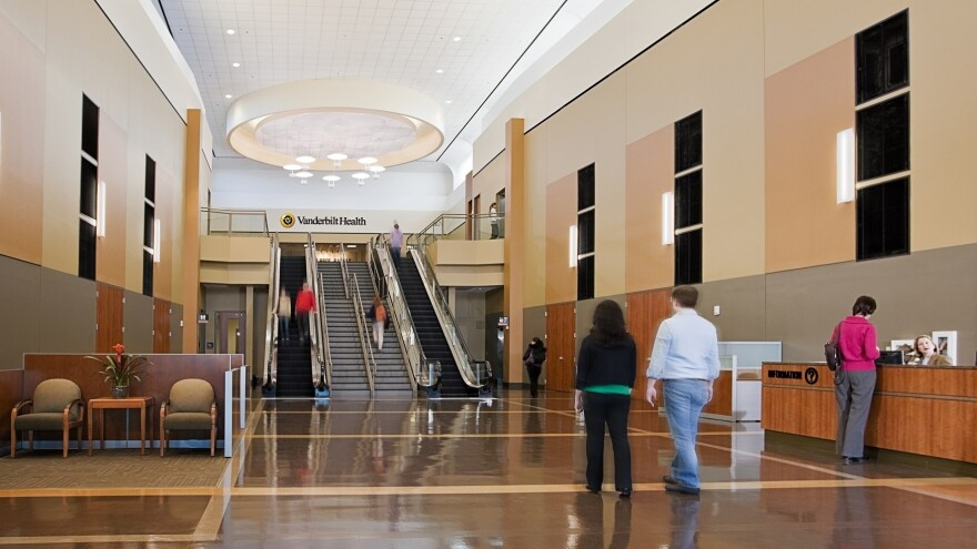 """The former main entrance to the One Hundred Oaks Mall (top photo) and <a href=""""http://www.greshamsmith.com/showcase/projects/showcase-3/vanderbilt-medical-center,-one-hundred-oaks"""" target=""""_blank"""">the new lobby and reception desk</a> to the Vanderbilt Medical Center in Nashville, Tenn."""