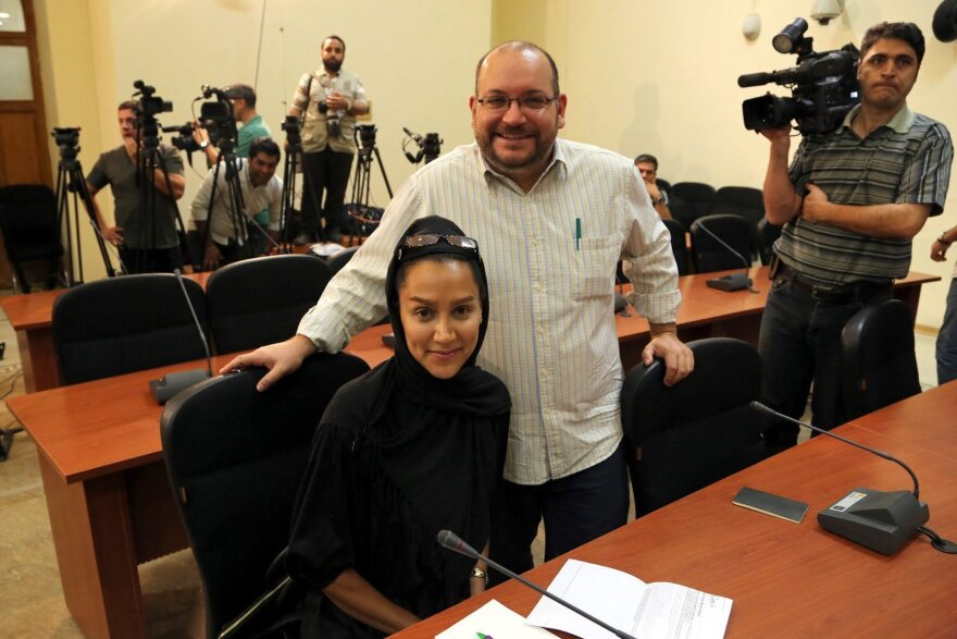 <em>The Washington Post</em>'s Jason Rezaian and his wife, Yeganeh Salehi, during a news conference in Tehran, Iran, on Sept. 10, 2013. They were arrested in July 2014. Salehi has since been freed. Rezaian had his third court hearing Monday.