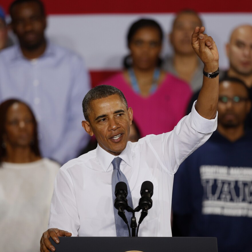 President Barack Obama promotes job training at General Electric's Waukesha, Wis., gas engine plant in January.