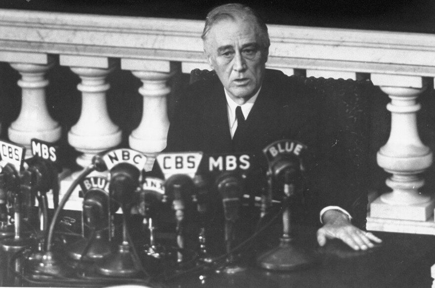 Shortly before his death, President Franklin D. Roosevelt reports to Congress in 1945 on the Yalta Summit Conference.